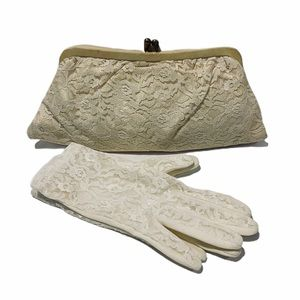 Vintage lace cluth and matching gloves